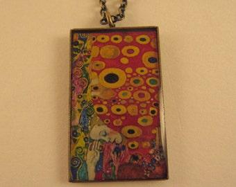 Red Patterned Klimt Rectangular Pendant Necklace