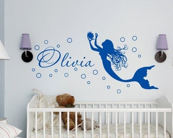Mermaid Wall Decal Personalized Name Decal Wall Sticker Girl Name Wall Decal  Girls Name Decal Childu0027s
