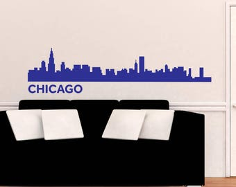 Chicago Skyline Wall Decal Vinyl Stickers City Silhouette Wall Decals Murals Office Decor Living Room Bedroom Wall Art Interior Design ET057