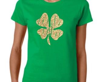 st particks shirt, women st patrick, st particks day, irish shirt, green shirt, clover shirt, glitter green shirt, glitter clover, shamrock