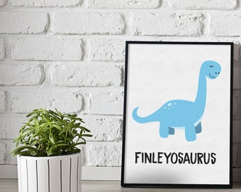 Personalised dinosaur print - dinosaurs print - gift for kids - boys room prints - girls room prints - dino print - custom prints - kids
