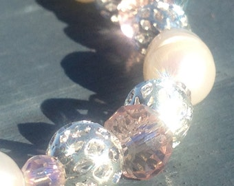 Freshwater Pearl and Pink Crystal Bracelet