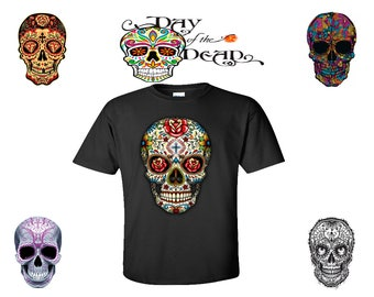 Sugar Skull Roses Shirts - Skull Shirt Sugar Skull Day Of The Dead Calavera T Shirt T Shirt Party Tees Dia De Los Muertos T-Shirt