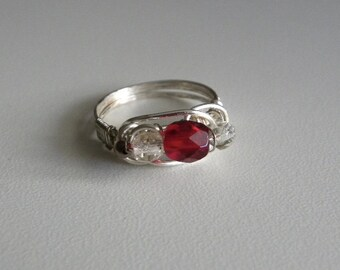 Ruby crystal wire-wrapped ring.