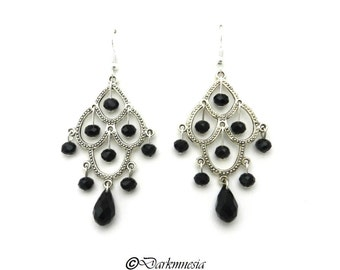 Earrings, crystal, black, drop, beads, chandelier, goth, gothic, victorian, baroque