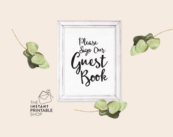 Please sign our guest book sign printable, Rustic guest book signs, Rustic signs, Wedding signs, Reception signs, Printable guest book signs