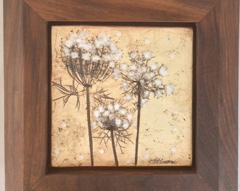 Handmade Art Tile- Queen Ann's Lace