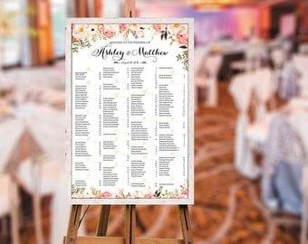 Wedding Seating Chart Poster, Wedding seating chart alphabetical, Wedding Seating Chart, Printable Wedding Seating Chart - US_WC0101d