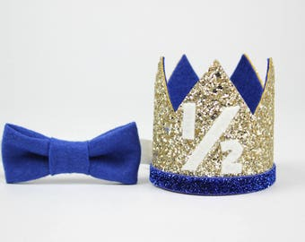 1/2 Birthday Crown | Boy Birthday |Half Birthday Outfit boy | Half Birthday Glitter Hat | 6 Month Photo Prop | Pale Gold + Blue 1/2
