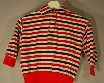True vintage 90s polo shirt long sleeve shirt long sleeve striped white blue red