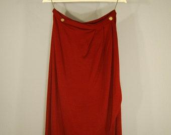 True vintage of 60s rock wrap skirt dark red S/M layered look Elf Festival skirt minimalist classic lady