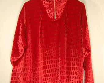 90's true vintage oversize sweater long sleeve velvet bordeaux XXL animal crocodile velvet