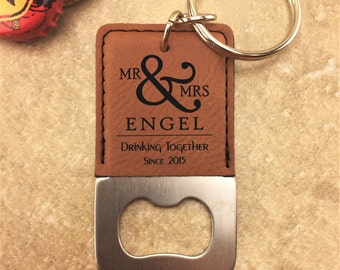 Personalized Bottle Opener Keychain - Mr & Mrs Bottle Opener - Drinking Together - Customized - Wedding Gift - Bottle Opener - Keychain