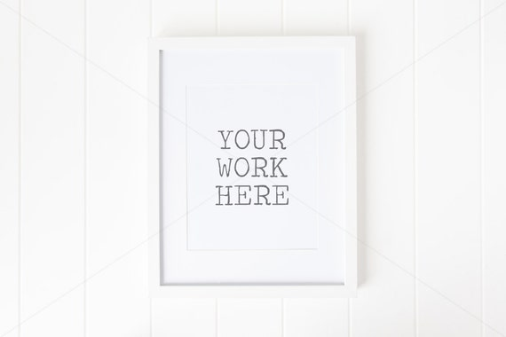 styled stock photography frame mock up white frame with mat 8 x 10 20cm x 25cm high resolution jpeg psd file with smart object - White Frame With Mat