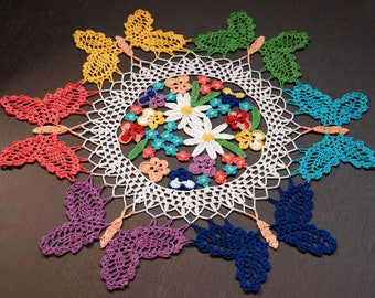 Crochet Doily Flowers with Butterflies Home Decor Gift for Wife Rainbow Living Room Decor Table Decor Bedroom Decor Bohemian Decor