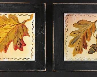 Double Autumn Leaves Trivet Hot Plate Frame