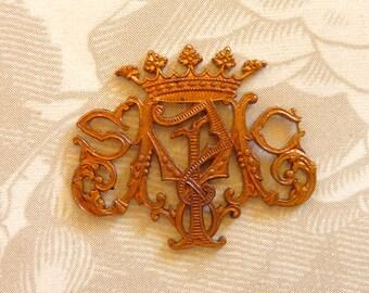 Crowned Vintage French Monogram(1pc)Vintage French Findings/Vintage French Regal Crown/Vintage French Pendant/Vintage Brass Charms