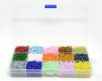 496 g --15 Color/box 6/0 Glass Seed Beads, Mixed Color, 4mm, Hole:1mm