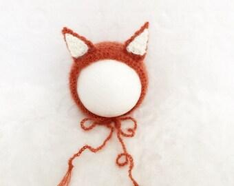 Crochet Mohair Yarn bonnet Fox .Photography props.