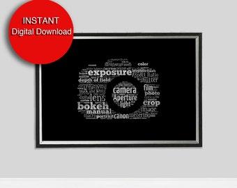 Printable Art Photographer's Gift - Camera Art - Large Black Wall Art- Faux Glitter A3 Printable Camera Art