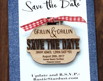 Grilling and Chilling I Do Save-The-Date invitation magnets, Set 10