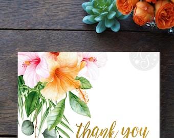 Tropical thank you card, Hawaiian wedding thank you cards, Tropical destination wedding thank you card, Watercolor hibiscus folded card