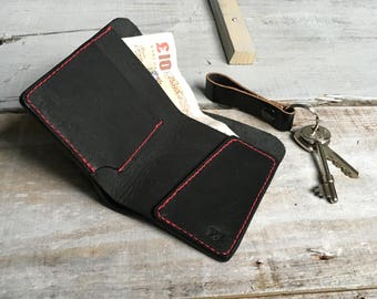 Leather wallet- minimalist wallet- mens leather wallet- card wallet- mens wallet- gift for boyfriend- gift for best friend-Black