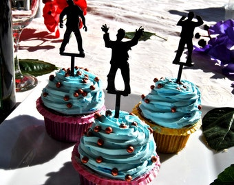 6 pcs in one set zombie CupCake toppers for party decor, cupcake toppers acrylic,  topper for birthday, kids birthday cake decor