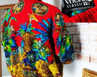 VERY RARE!!! Vintage authentic Versace Classic V2 Jungle Print Silk Jacket Bomber Made in ITALY