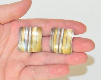 Large Vintage Designer Modernist Sterling Silver 14K Gold Studio Artisan Square Studs Earrings