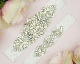 White Bridal Garter, White Wedding Garter Set, White Bridal Garter, Bridal Garter Belt, White Bridal Garter Set, Wedding Garter Set, 20-1A
