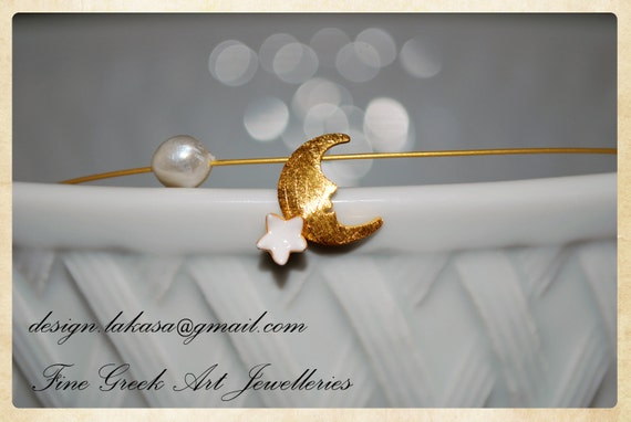 Necklace Moon white Enamel Star Sterling Silver Gold Pearl Handmade Jewelry Sweet Big Dreams Romantic Girl Wishes for you Congratulations