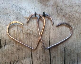 FLASH SALE!! 14g copper heart plugs,14g hearts,14g heart plugs,heart open hoops,heart hoops,open hoops,14g plugs,14g open hoops,Valentine's