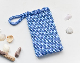 MADE TO ORDER Custom made beaded white and blue iphone bag Crochet phone sleeve Phone case Iphone cover Beaded phone cover Gift for her