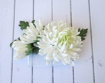 Сhrysanthemum hair comb - Flowers hairpin - Flowers hair accessories - Foam handmade flowers - flowers hair decoration - Hair comb