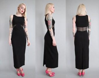 90s Black Stretch Ponte Maxi Dress w/ Sheer Mesh Insets sz S