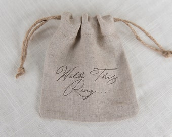 Natural Linen Ring Bag, Wedding Ring Bag, Ring Pillow Alternative, Rustic wedding ring bag, Linen wedding ring bag, custom ring bag