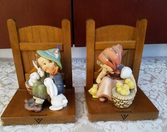 Hummel Bookends - Playmates and Chick Girl 61A & 61B TMK3