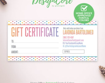 Gift Certificate, Home Office Approved, Personalized, Polka Dot Design, Gift Card, Digital Files, Printable, Marketing, Fashion, DCGC001