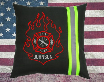 Firefighter BLACK Pillow featuring Flame with Maltese Cross