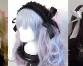 Headpiece Sweet Gothic Lolita schwarz weiß rosa