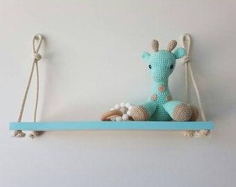 plywood & colour painted edge hanging shelf, nursery decor, nursery shelf