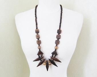 Long Wood necklace Wood jewelry Long boho necklace Vegan jewelry Wood bead necklace Vintage necklace Spike necklace Tribal necklace African