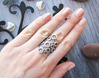 Vintage ornate ring Vintage silver rings Sterling Silver ring Geometric ring Vintage ring Statement ring Boho ring Large ring Chunky ring