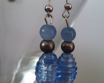 Deep Sea Blue Glass Drop Bead Earrings