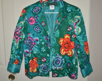 "20% off Womens ""Harve Benard"" Green Floral Paisley Blazer Jacket 12 M/L"