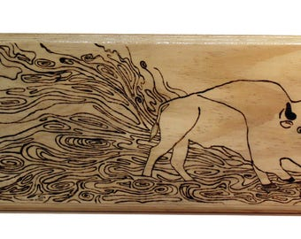 Woodburned Running Bison Plaque
