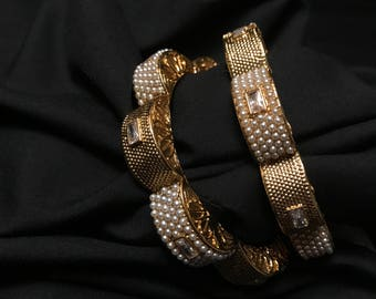 Indian Jewelry - Indian Bangles - Gold and Moti Pearl Bangles - Bollywood Jewelry - Indian Bracelet - Kundan Jewelry - South Indian - Desi -