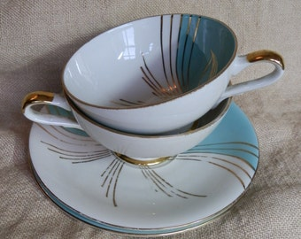 Set of Two Retro 1950's Turquoise, White and Gold Tea Cups and Saucers