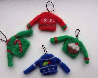 Cute needle felted Christmas Jumper Baubles